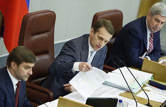 Sergei Naryshkin (center) during State Duma session (archive)