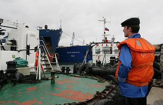 Vessels at Russian port 'Kavkaz' of the Kerch Strait