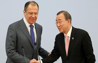 Sergei Lavrov and Ban Ki-moon