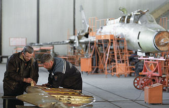 An aircraft repair plant in Belarus