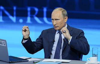 Russian President Vladimir Putin speaks during a Q&A live TV session (archive)