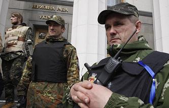 Ukraine's Verkhovnaya Rada (parliament) guarded by self-defense activists