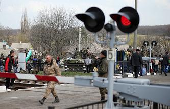 Railway-crossing near Kramatorsk in eastern Ukraine