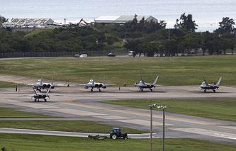 Fighter jets at Kadena Air Base in Japan