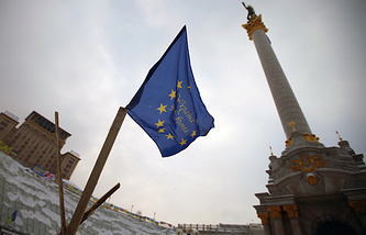 EU flag seen in Kiev