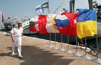 National flags of the BLACKSEAFOR member states seen in Sevastopol (archive)