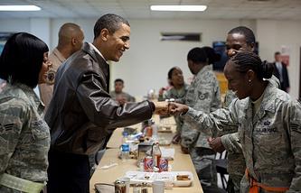 Barack Obama at the military base in 2010