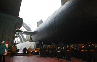 Borei-class strategic nuclear submarine Vladimir Monomakh at the Sevmash shipyard