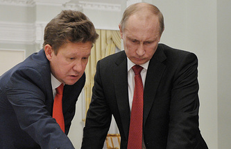 Gazprom CEO Alexei Miller (left) and Vladimir Putin