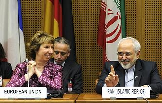 EU High Representative for Foreign Affairs Catherine Ashton and Iranian Foreign Minister Javad Zarif