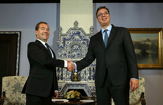 Russian Prime Minister Dmitry Medvedev and his Serbian counterpart Aleksandar Vucic