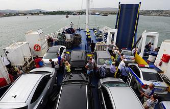A ferry crosses the Kerch Strait