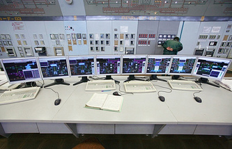 Process operator console at Sibur-Neftekhim petrochemical plant, a subsidiary of Sibur Holding, OJSC
