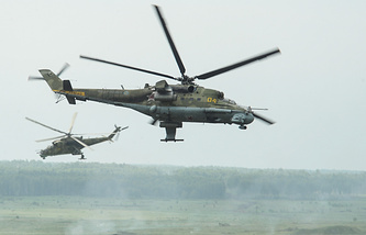Russian Mi-24 helicopters seen during drills in June 2014