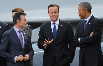NATO Secretary General Anders Fogh Rasmussen, British Prime Minister David Cameron and US President Barack Obama