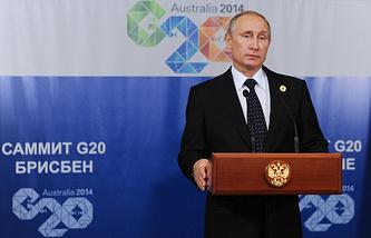 Russian President Vladimir Putin at G20 summit meeting in Brisbane, Australia