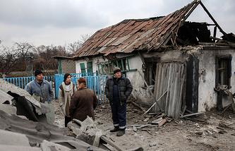 Damaged house in Donetsk region