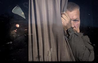 Ukrainian Army soldiers seen during an exchange of war prisoners