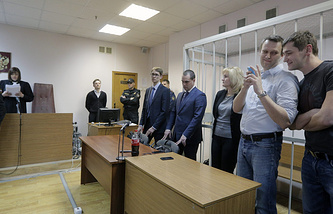 Reading of verdict to Navalny brothers at the Zamoskvoretsky district court in Moscow, Russia, 30 December 2014