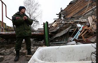 A Donetsk republic militia fighter seen in eastern Ukraine's Gorlovka in December 2014