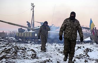 Ukrainian soldiers seen in eastern Ukraine