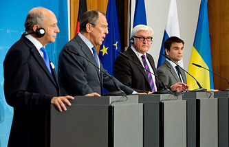 The Foreign Ministers of France, Russia, Germany and Ukraine: Laurent Fabius, Sergey Lavrov, Frank-Walter Steinmeier,  Pavlo Klimkin