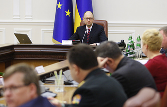 Ukraine's prime minister Arseniy Yatsenyuk at the session of Ukraine's Cabinet of ministers