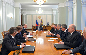 Russian President Vladimir Putin at the meeting with the permanent members of the Security Council