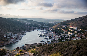 A panoramic view of the town of Balaklava near Sevastopol, Crimea
