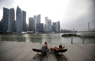 Skyline along the Singapore river, in Singapore