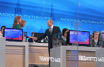 Russian President Vladimir Putin at the annual Q&A session