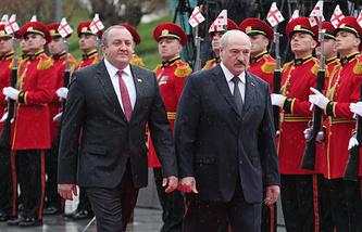 Georgian President Georgy Margelashvili and Belarusian President Alexander Lukashenko