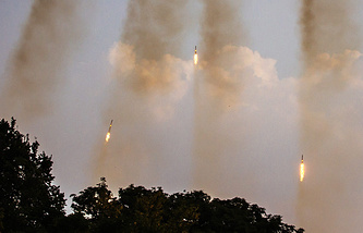 Grad multiple rocket launchers being fired in Ukraine (archive)