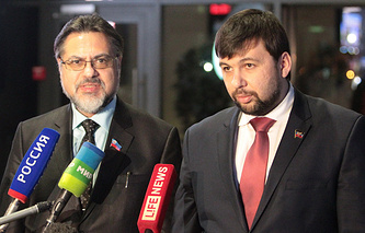 Denis Pushilin (right) and Vladislav Deinego