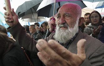 Crimean Tatars during a commemoration ceremony in Simferopol, Crimea
