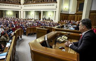Ukrainian President Petro Poroshenko at a parliament session