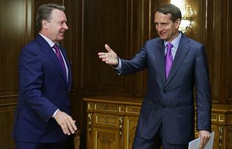 OSCE Parliamentary Assembly president Ilkka Kanerva (left) and the chairman of the Russian State Duma Sergey Naryshkin (right)