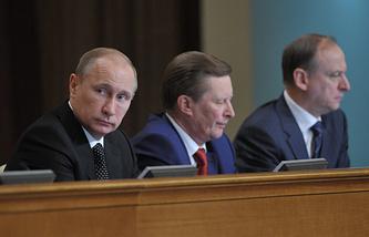 Russian President Vladimir Putin, Kremlin Chief of Staff Sergey Ivanov and Security Council Secretary Nikolay Patrushev