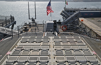 Missile launch pads on the deck of the USS Vicksburg in the Black Sea port of Constanta, Romania