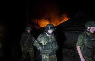 Militia fighters in Donetsk