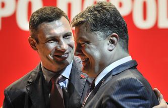 Vitaly Klitschko and  Petro Poroshenko