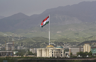 A giant flag of Tajikistan over Dushanbe
