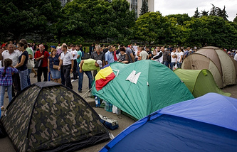 Tent camp of protesters in central Chisinau, Moldova