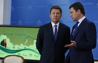 Gazprom CEO Alexay Miller and Russia's Energy Minister Alexander Novak