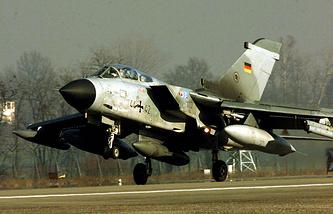 A German Tornado fighter jet