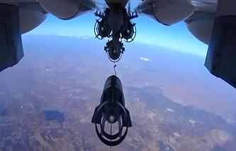 Russia's Su-30 fighter jet bombing