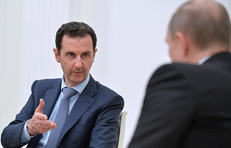 Syrian President Bashar Assad at the meeting with Russian leader Vladimir Putin