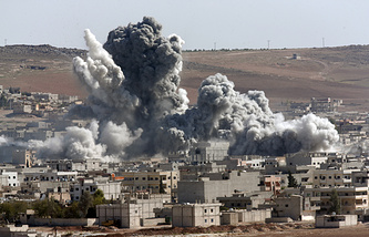 Aftermath of an airstrike by the US-led coalition in Kobani, Syria