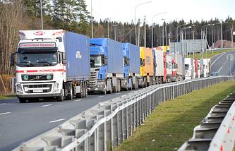 Trucks at the Russia-Finland border