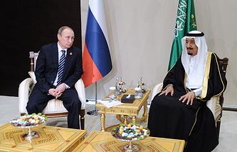 Russian President Vladimir Putin and the King of Saudi Arabia, Salman bin Abdulaziz Al Saud
